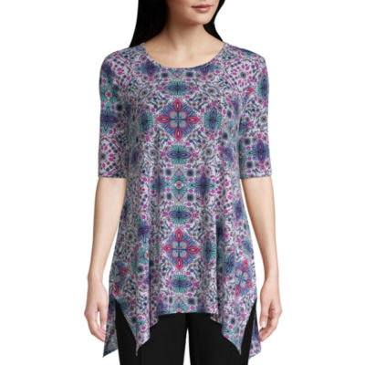 east 5th Womens Round Neck Elbow Sleeve Knit Blouse