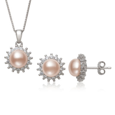 Pink Cultured Freshwater Pearl Sterling Silver 2-pc. Jewelry Set