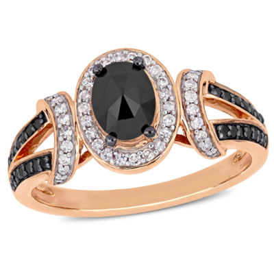 Womens 1 CT. T.W. Genuine Black Diamond 10K Rose Gold Cocktail Ring