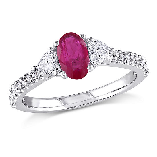 Modern Bride Gemstone Womens 1/2 CT. T.W. Lead Glass-Filled Red Ruby 14K White Gold Engagement Ring