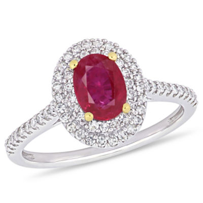 Modern Bride Gemstone Womens 1/3 CT. T.W. Lead Glass-Filled Red Ruby 14K Two Tone Gold Engagement Ring