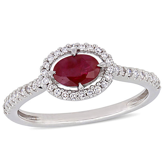 Modern Bride Gemstone Womens 1 5 Ct Tw Lead Glass Filled Red Ruby 14k White Gold Engagement Ring