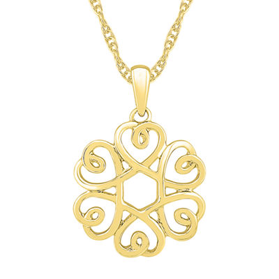 Womens 10K Gold Knot Pendant Necklace