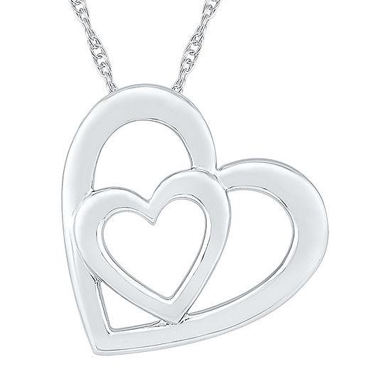 Womens 10K White Gold Heart Pendant Necklace