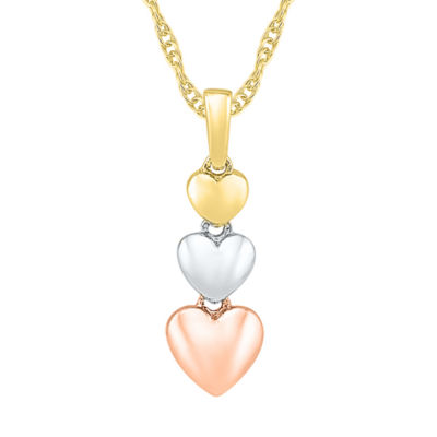Womens 10K Tri-Color Gold Heart Pendant Necklace