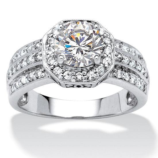 Diamonart Womens 2 1/4 CT. T.W. White Cubic Zirconia 10K White Gold Engagement Ring