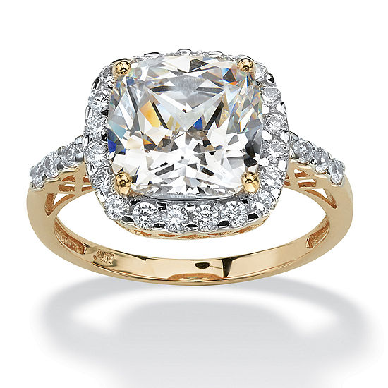 DiamonArt® Womens 3 1/4 CT. T.W. White Cubic Zirconia 10K Gold Engagement Ring