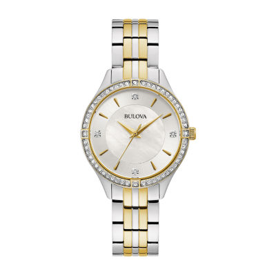 Bulova Womens Crystal Accent Two Tone Stainless Steel Bracelet Watch 98l273