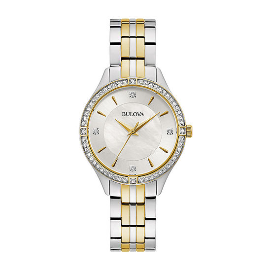 Bulova Womens Two Tone Stainless Steel Bracelet Watch-98l273