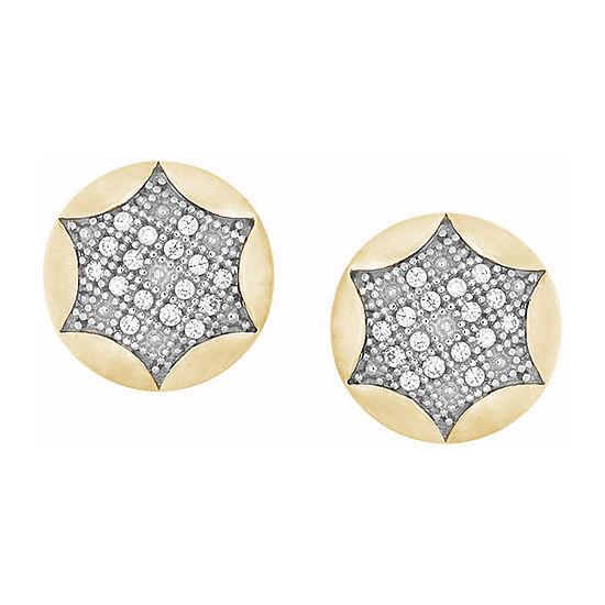 1/10 CT. T.W. Genuine White Diamond 10K White Gold 9.5mm Stud Earrings