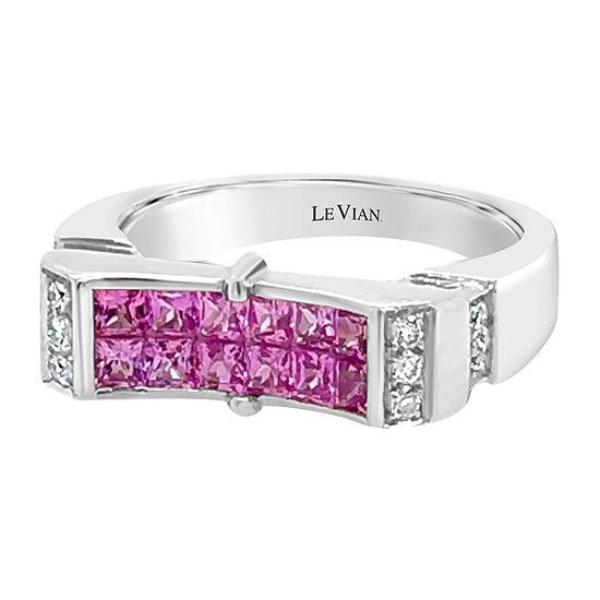LIMITED QUANTITIES! Le Vian Grand Sample Sale™ Ring featuring Bubble Gum Pink Sapphire™ Vanilla Diamonds® set in 18K Vanilla Gold®