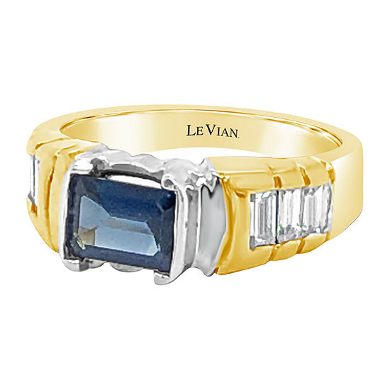 LIMITED QUANTITIES! Le Vian Grand Sample Sale™ Ring featuring Blueberry Sapphire™ Vanilla Diamonds® set in 18K Two Tone Gold