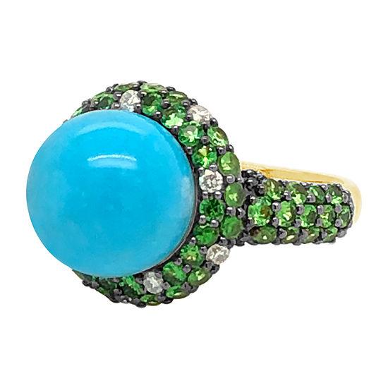 Le Vian Grand Sample Sale™ Ring featuring Robins Egg Blue Turquoise™ Forest Green Tsavorite™ Vanilla Diamonds® set in 14K Honey Gold™