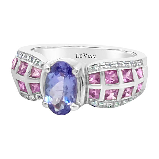 LIMITED QUANTITIES! Le Vian Grand Sample Sale™ Ring featuring Blueberry Tanzanite® Bubble Gum Pink Sapphire™ Vanilla Diamonds® set in 18K Vanilla Gold®