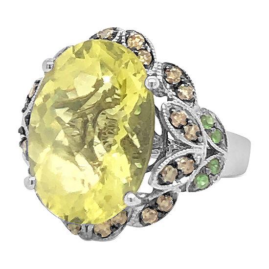 Le Vian Grand Sample Sale™ Ring featuring Lemon Quartz Forest Green Tsavorite™ Chocolate Diamonds® set in 14K Vanilla Gold®