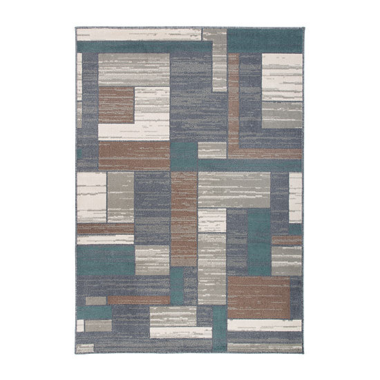 World Rug Gallery Distressed Modern Boxes Rectangular Indoor Rugs