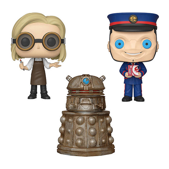 Funko Pop! Tv Doctor Who Collectors Set - 13th Doctor With Goggles Reconnaissance Dalek The Kerblam Man