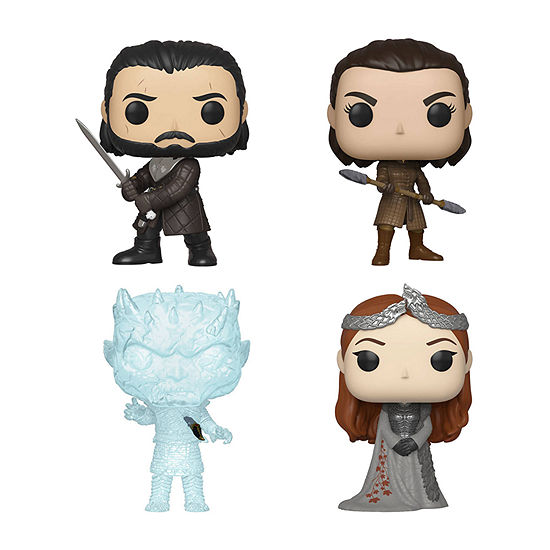 Funko Pop! Tv Game Of Thrones Collectors Set 3 - John Snow Sansa Stark Arya W/ Two Headed Spear Crystal Night King W/ Dagger In Chest