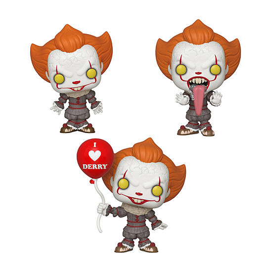 Funko Pop! Horror Movies It Chapter 2 Collectors Set - Pennywise W/ Open Arms Pennywise W/ Balloon Pennywise Funhouse
