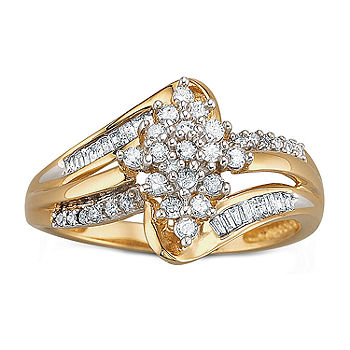 1 3 Ct T W Diamond 10k Gold Cluster Ring Jcpenney
