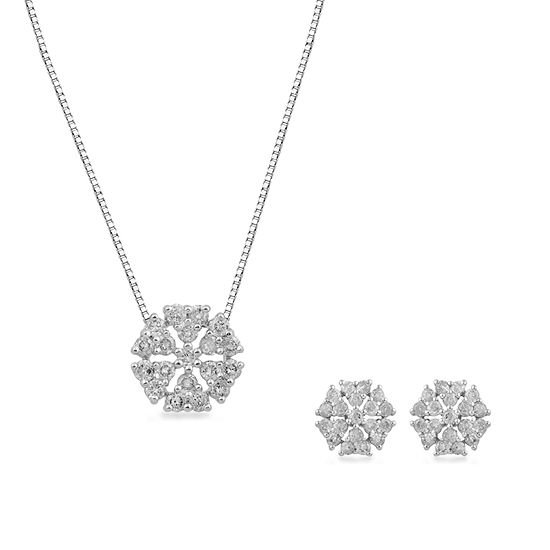 1 CT. T.W. Genuine White Diamond 10K White Gold 2-pc. Jewelry Set