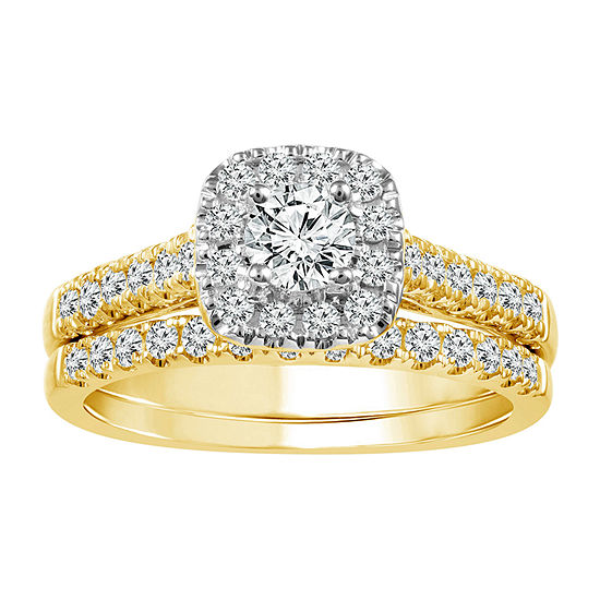 Womens 1 CT. T.W. Genuine White Diamond 10K Gold Halo Bridal Set