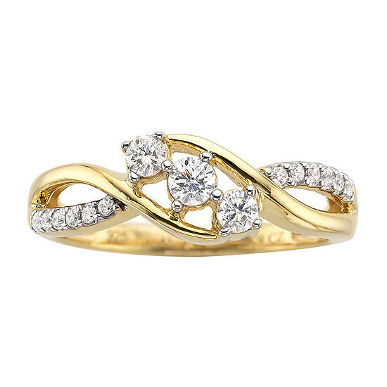 Love Lives Forever 1/3 CT. T.W. Diamond 10K Gold 3-Stone Promise Ring