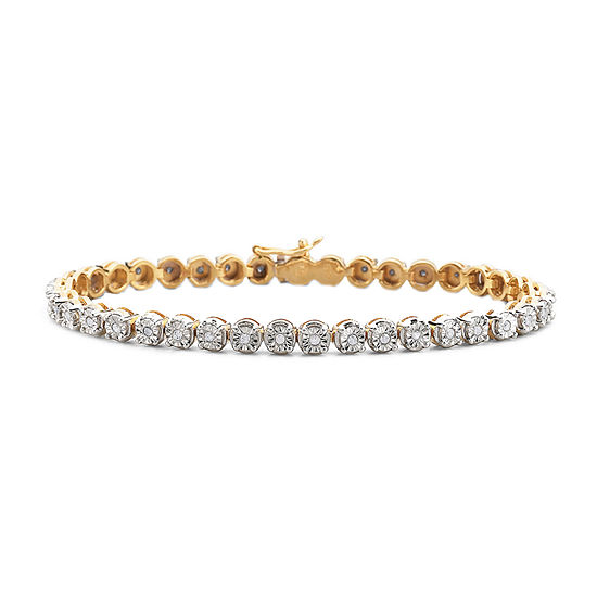1/2 CT. T.W. Diamond 14K Yellow Gold over Sterling Silver Tennis Bracelet