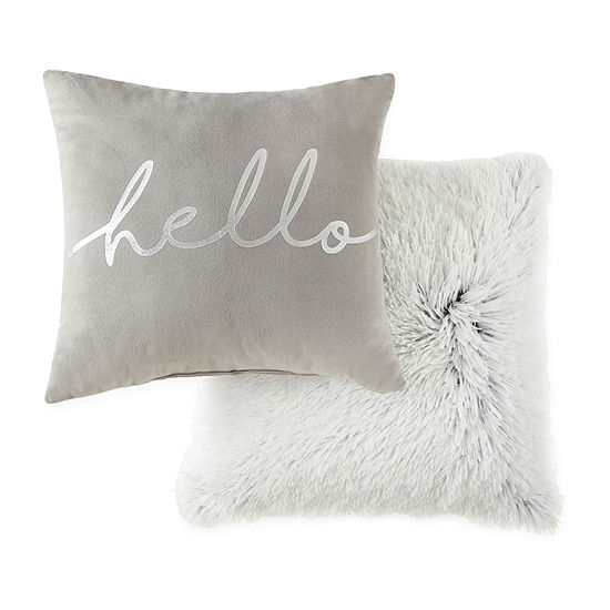 JCPenney Home Hello With Faux Mink 2-Pack Square Throw Pillow