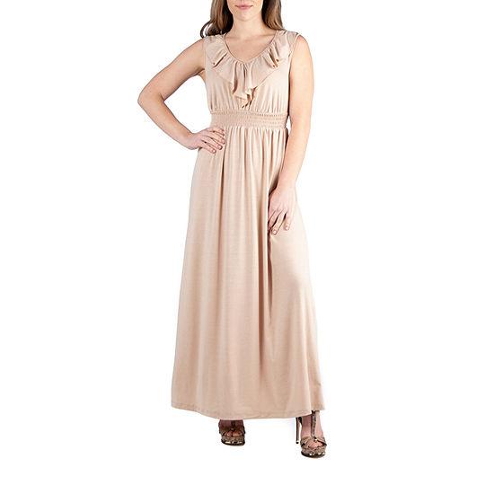 24/7 Comfort Apparel Empire Waist Ruffle Maxi Dress