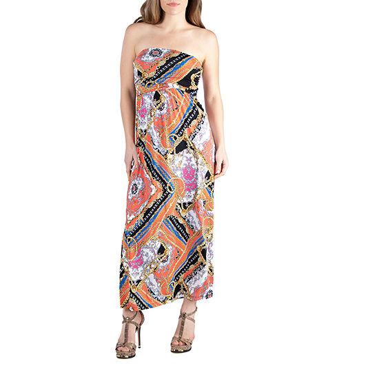 24/7 Comfort Apparel Chain Print Strapless Maxi Dress