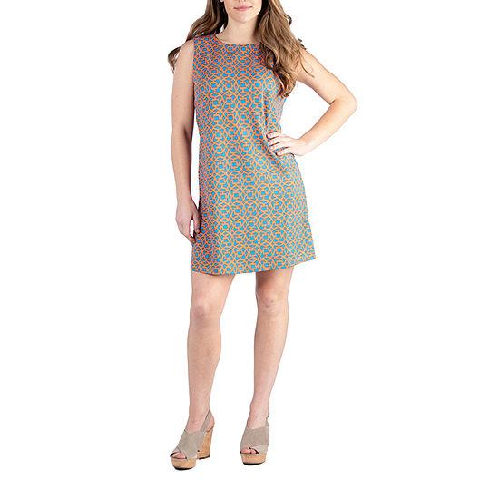 24/7 Comfort Apparel Modern Print Sleeveless Mini Shift Dress