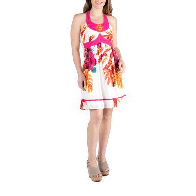 Apparel Beaded Knee Length Halter Dress