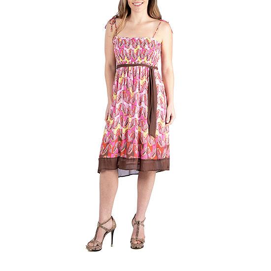 24/7 Comfort Apparel Flowey Sleeveless Summer Dress
