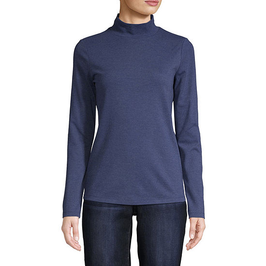 St. John's Bay Womens Long Sleeve Mock Neck Top