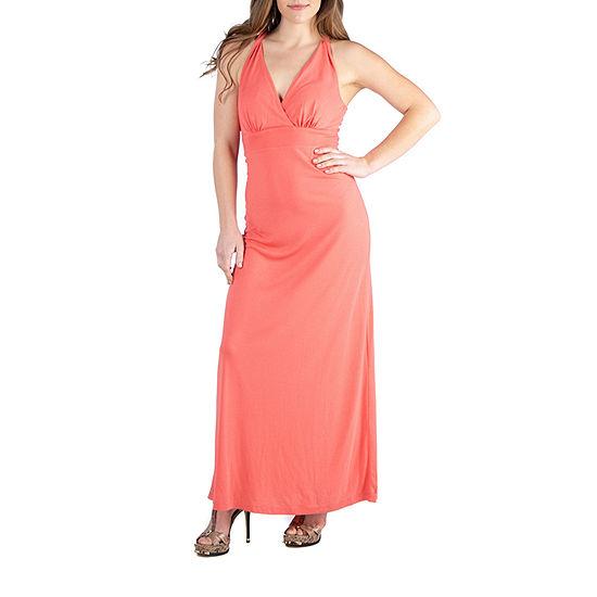 24/7 Comfort Apparel Backless Halter Maxi Dress