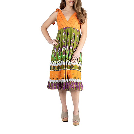 24/7 Comfort Apparel Midi Halter Summer Dress