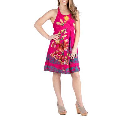 Apparel Knee Length Floral Halter Dress