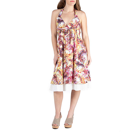 24/7 Comfort Apparel Knee Length Halter Cotton Summer Dress