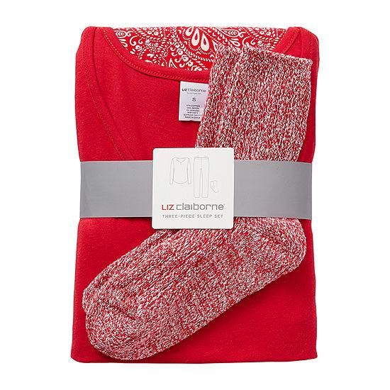 Liz Claiborne Womens-Petite Pant Pajama Set 3-pc. Long Sleeve