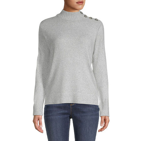 St. John's Bay Womens Mock Neck Long Sleeve Pullover Sweater, Small , Gray