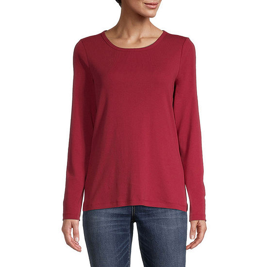 St. John's Bay-Womens Long Sleeve T-Shirt