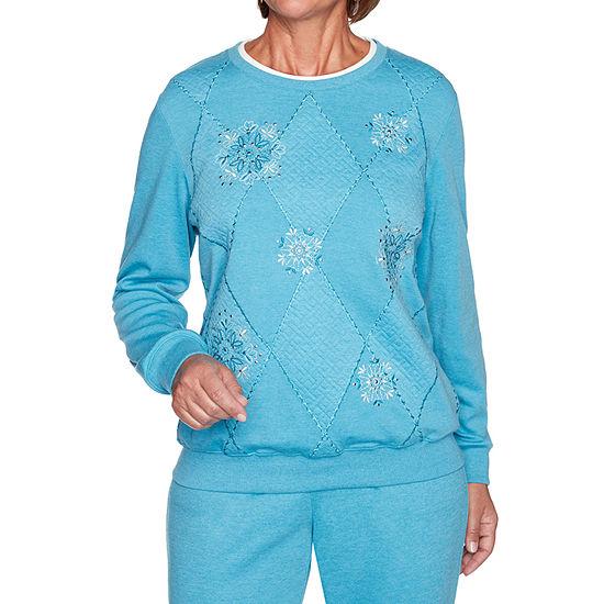Alfred Dunner Long Weekend Womens Crew Neck Long Sleeve Sweatshirt