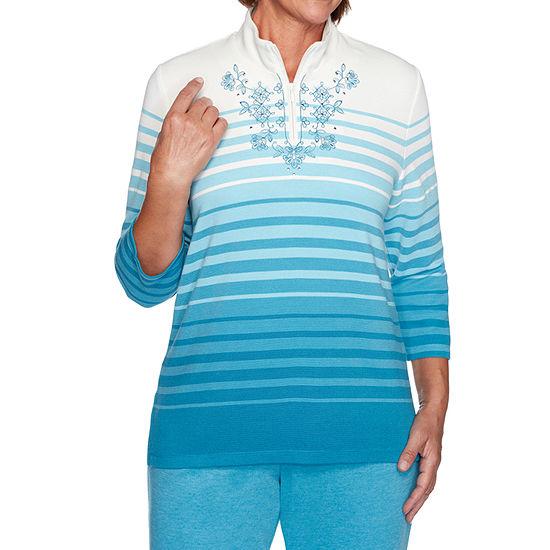 Alfred Dunner Long Weekend Womens Collar Neck 3/4 Sleeve Quarter-Zip Pullover