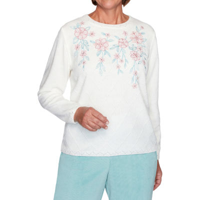 Alfred Dunner St Moritz Womens Crew Neck Long Sleeve Floral Pullover Sweater