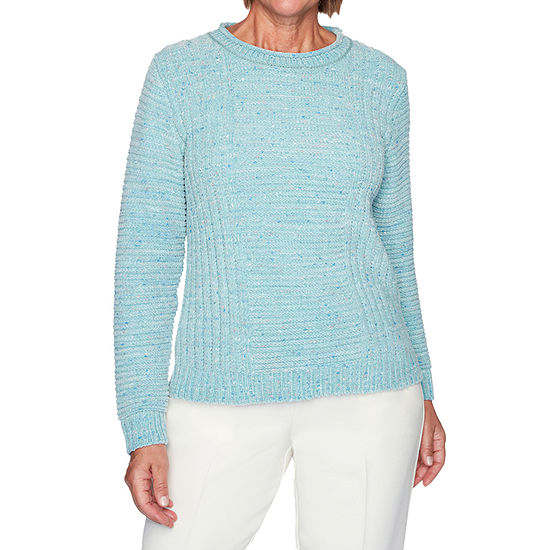 Alfred Dunner St Moritz Womens Crew Neck Long Sleeve Chenille Pullover Sweater