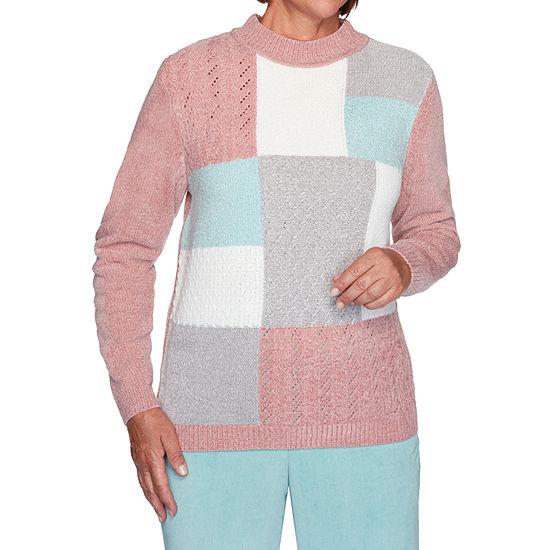 Alfred Dunner St Moritz Womens Mock Neck Long Sleeve Geometric Pullover Sweater