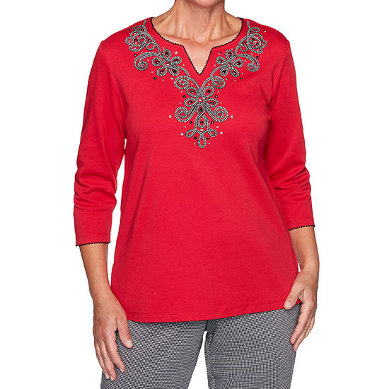 Alfred Dunner Knightsbridge Station Womens Split Crew Neck 3/4 Sleeve Knit Embroidered Blouse