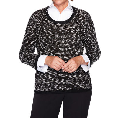 Alfred Dunner Knightsbridge Station Womens Long Sleeve Layered Sweaters