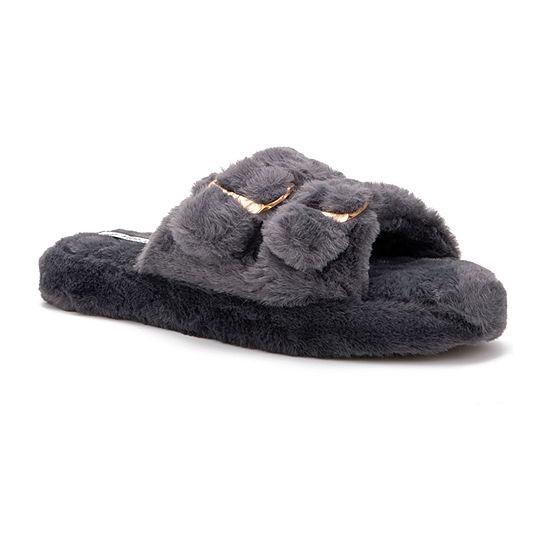 Olivia Miller Fur Double Buckle Indoor Outdoor Womens Slip-On Slippers